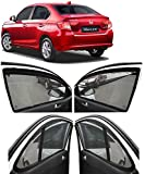 Autofact Magnetic Window Sunshades/Curtains for Honda Amaze 2018 Onwards Model [Set of 4pc - Front 2pc with Zipper ; Rear 2pc Without Zipper] (Black)
