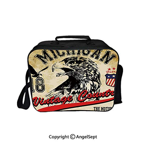 Lunch Box Carry Case Handbags,Hand Drawn City of Detroit Michigan Digital Art with a Portrait of an Eagle Decorative Pale Brown Black Red 8.3inch,With Zipper For Adults Kids Teachers Workers ()