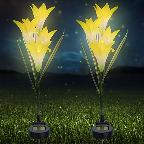 Sorbus LED Flower Light Lily Stakes, 2 Pack Solar Multi-Color Changing 8 LED Outdoor Garden Flowers,Lawn, Garden, Patio, Night Lighting, Path Walkway, Gravestones, Wedding, (2 Yellow Color Changing)
