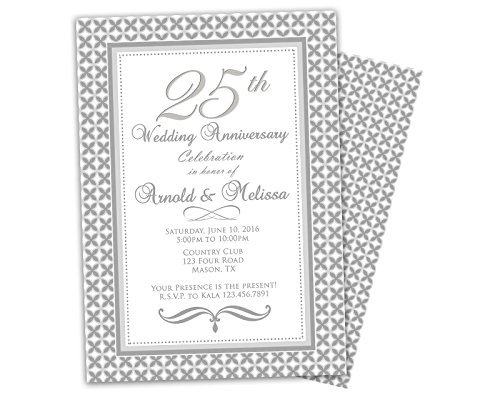 amazon com silver 25th wedding anniversary invitations party handmade