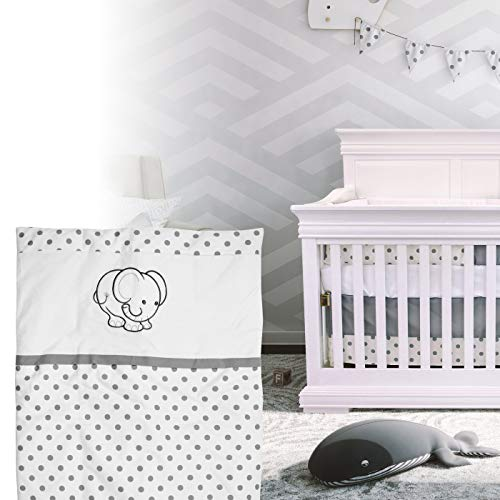 BOOBEYEH & DESIGN 5PCS Bedding for Baby - Elephant Pattern, Grey and White