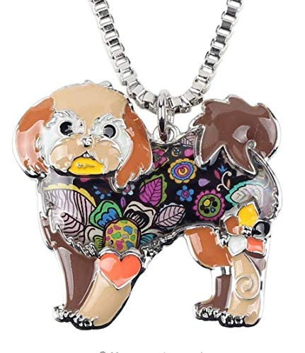 Shih Tzu Dog Enamel Alloy Necklace Pendant Chain from Pins and Broches