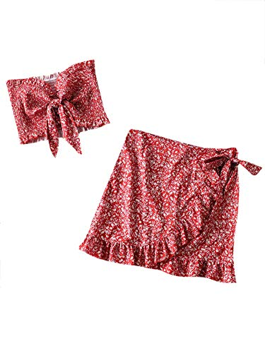 ohemian Two Piece Ditsy Floral Tie Front Shirred Tube Top and Ruffle Wrap Skirt Set Multicolor S ()