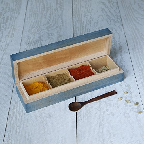 Christmas Gift Wooden Masala Spice Box (10 Inches) with 4 Storage Compartments and Spoon for Decorative Accessories Gifting (Small Decorative Spoons compare prices)
