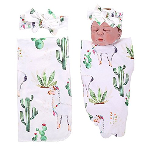 Alpaca Baby Blanket - PROBABY Newborn Baby Swaddle Blanket Cactus & Llama Print Blanket with Headband Receiving Blankets for Coming Home Gift (One Size, A)