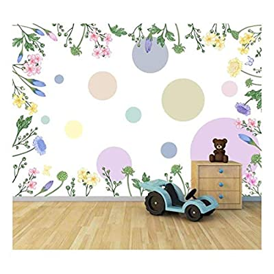 Pretty Technique, Premium Product, Bright Candy Color Flowers Large Wall Mural Removable Peel and Stick Wallpaper