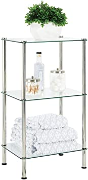 Amazon Com Mdesign Bathroom Floor Storage Rectangular Tower 3 Tier Open Glass Shelves Compact Shelving Display Unit Multi Use Home Organizer For Bath Office Bedroom Living Room Clear Chrome Metal Furniture