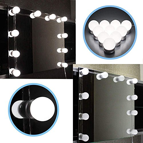LED Vanity Mirror Light -Rbaysale Makeup Mirror Light Kit- Hollywood Style LED Vanity Mirror Bulbs - Lighting Fixture Strip for Makeup Dressing Table with Dimmer and Power Supply, Mirror not Included by Rbaysale