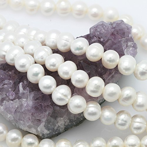 Cultured Freshwater Pearl Beads Potato White 9-10mm - Strand Potato Pearl Freshwater