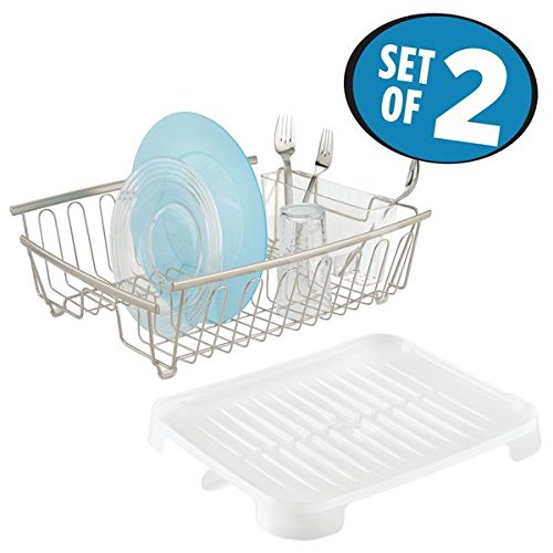 mDesign Large Kitchen Countertop, Sink Dish Drying Rack with Removable Cutlery Tray and Drainboard with Swivel Spout - Set of 2, Rustproof Satin Wire / Frost BPA Free Plastic