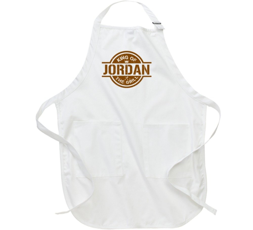 Jordan King of the Grill Father's Day Gift Cooking Grillmaster BBQ Chef Apron L White