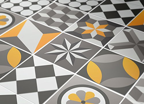 Tiles Stickers Decals - Packs with 36 Tiles (Floor - 7.9 x 7.9 inches, Wall Tile Geometric Sticker for Kitchen Backsplash Decor Vintage Yellow Gray Decal)