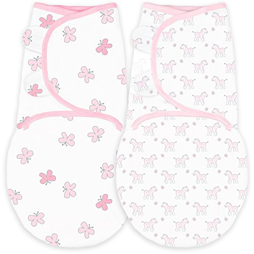 Amazing Baby Swaddle Blanket with Adjustable Wrap, Set of 2, Tiny Zebra and Butterflies, Pink, Small
