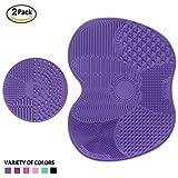 Makeup Brush Cleaning Mat, ESARORA Makeup Brush Cleaner Pad Set of 2 Cosmetic Brush Cleaning Mat Portable Washing Tool Scrubber Suction Cup (purple)