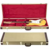 Topeakmart Square Tweed Electric Guitar Hardshell Carrying Case with Lock Latch Key, Gold