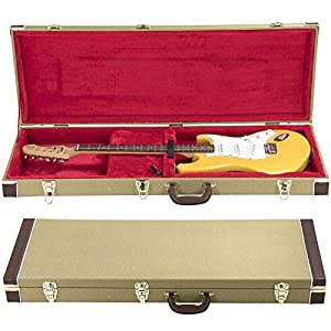 Yaheetech Electric Guitar Case Acoustic Guitar Cases Deluxe Guitar Case Fit Strat/Tele,Tweed with Red Plush Interior
