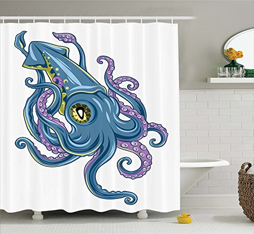 [Kraken Decor Shower Curtain Mythical Squid Swimming Tentacles Cuttlefish Fin Marine Life Graphic Print Fabric Bathroom Decor Set with Hooks Blue] (Squid Costume Ebay)