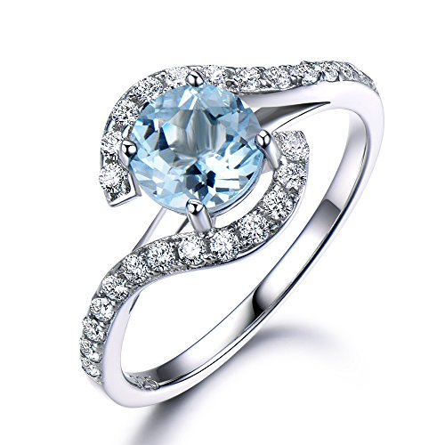 Aquamarine Engagement Ring 925 Sterling Silver White Gold 6.5mm Round Cut Curved CZ Diamond Wedding Band by Milejewel Aquamarine engagement rings