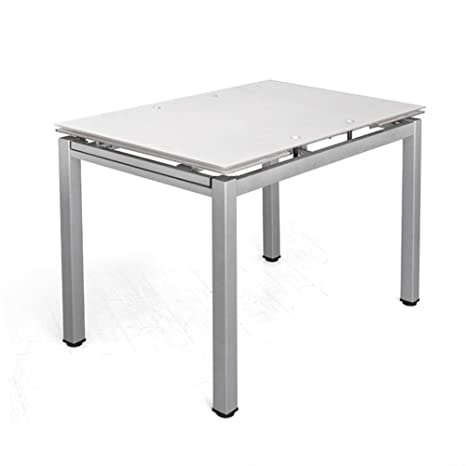 Cribel Queen Tavolo, Vetro/Metallo Satinato, Bianco, 110x70x75 cm ...