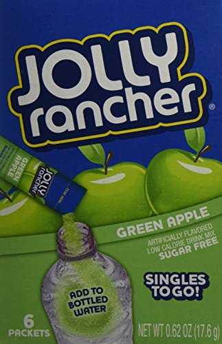 Jolly Rancher Drink Mix Green Apple -- 6 Boxes (36 Singles To Go Packs Total) ()