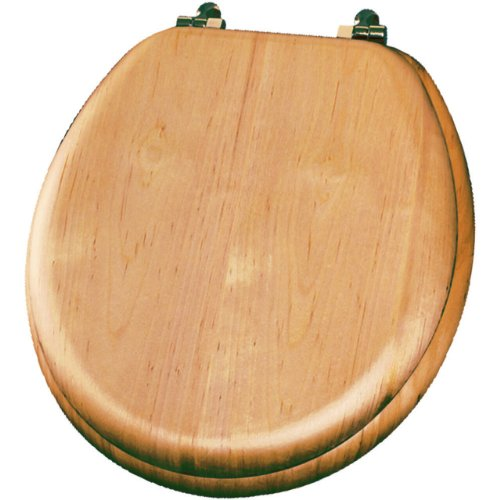 Mayfair 9601BR 418 Natural Reflections Wood Veneer Toilet Seat with Brass Hinges, Round, Maple