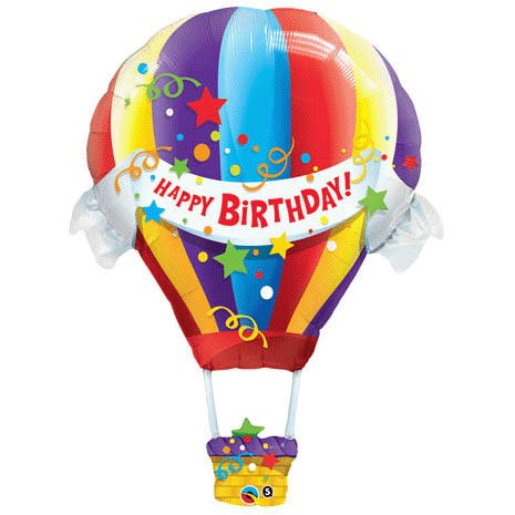 Mayflower Products Happy Birthday Hot Air Balloon Jumbo Foil Balloon (Multi-colored) Party Accessory -