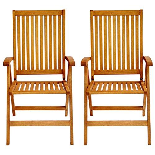 LuuNguyen Tullamore Outdoor Hardwood 5 Positions Reclining Folding Arm Chair (Natural Wood Finish), Set of (Discount Teak Patio Chair)