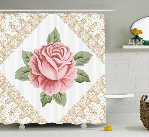 (Ambesonne Floral Shower Curtain by, Lace Ornate Vintage Rose Petal Floret Shabby Chic Pattern, Fabric Bathroom Decor Set with Hooks, 75 Inches Long, Light Pink Reseda Green Sand Brown)