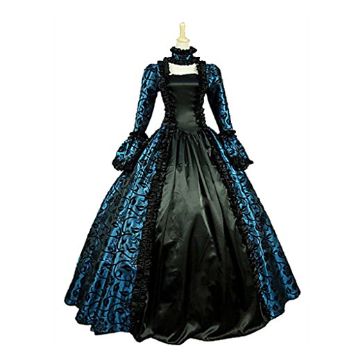 1791's lady Women's Victorian Rococo Dress Inspiration Maiden Costume NQ0032 (XL:Height65-67'' Chest42-43'' Waist33.5-35'', Black&Blue) by 1791's lady (Image #2)