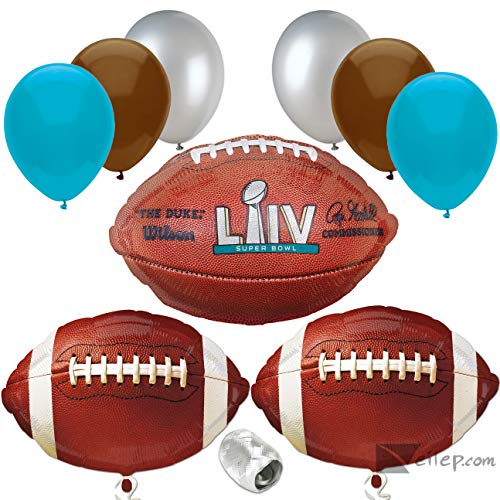 Veil Entertainment Super Bowl LIV 54 2020 Decor Party Supply 10pc Balloon Pack, Blue Silver Brown
