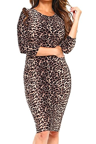 ICONOFLASH Women's Leopard Print 3/4 Sleeve Bodycon Midi Dress - Crew Neck Fitted Dress Size Large