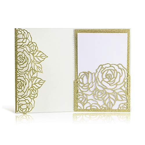 Laser Cut Wedding Invitations with Envelopes - 25pcs 3 Folds 4.7 * 7 inch Gold Glitter Rose Wedding Invitations Cards Kit with Printable Inner Sheet, Envelopes for Bridal Baby Shower Engagement ()