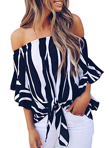 Women Striped Off Shoulder Ruffle 3 4 Sleeve Tee Tops Ladies Tie Knot Blouse Tunics X-Large 16 18 Black (Off The Shoulder 3 4 Sleeve Top)