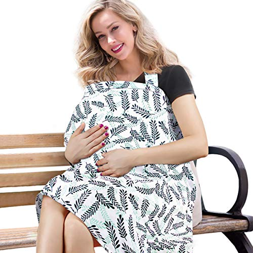 BONTIME Nursing Cover - Premium Organic Bamboo Cotton Breastfeeding Cover,Multi Used for Car Seat Covers Full Coverage to Protect Your Privacy,Olive Tree (Nursing Cover That Covers Front And Back)