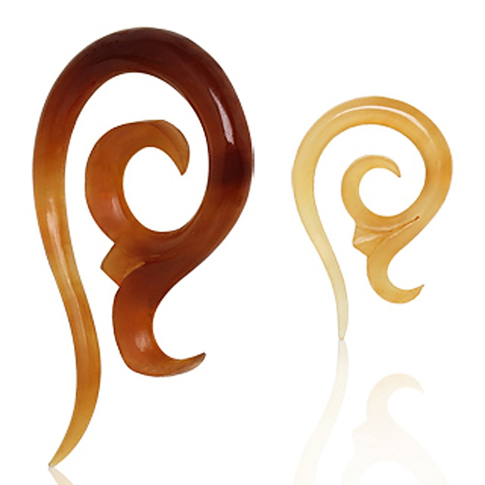 Spiral Shaped Buffalo Horn Taper - 0GA - Sold as a Pair