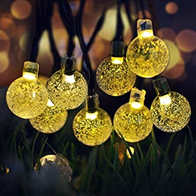 Lalapao Solar Powered Globe String Lights,30 LED (19.7ft) Crystal Ball Christmas Fairy String Light for Outdoor, Xmas Tree, Garden, Path, Patio, Home, Lawn, Holiday, Wedding Decor, Party (Warm White)