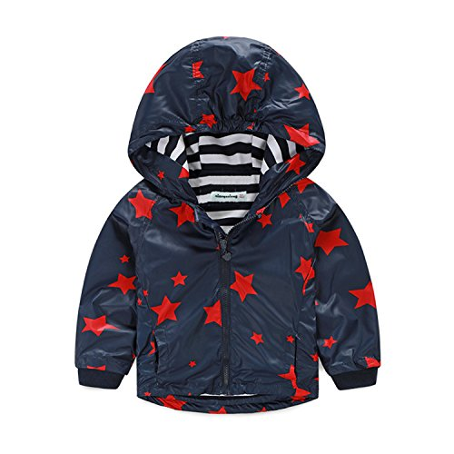 ODFAPP Adorable Spring and Autumn Children Boys Stars Print Outerwear Child Clothes Hooded Waterproof Windproof Kids Boy Jackets For 4-10 YR darkblue4 Cool (New Orleans Halloween Ideas)