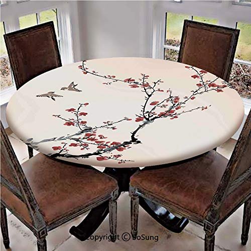 Elastic Edged Polyester Fitted Table Cover,Cherry Branches Flowers Buds and Birds Asian Style Artwork with Painting Effect,Fits up 56