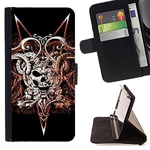 Momo Phone Case / Flip Funda de Cuero Case Cover - Devil Rock Metal Horns Cráneo Negro - Samsung Galaxy S6 Active G890A