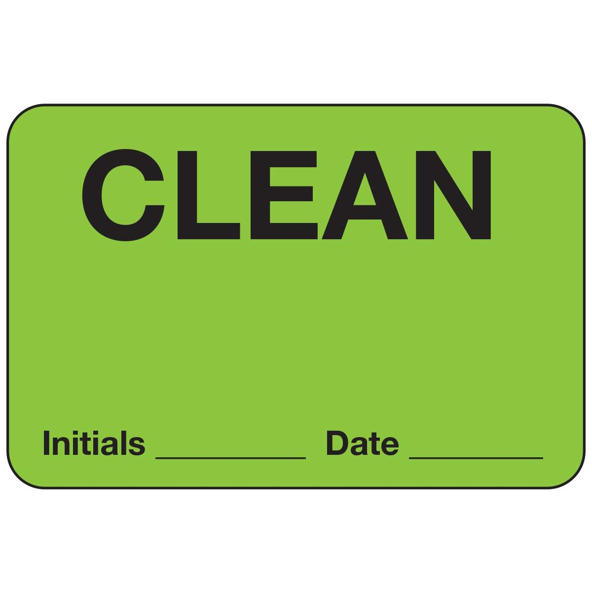 PDC Healthcare 59705743 Paper Label, Fluorescent Green Label with Black Text, ''Clean Initials Date'', 4'' Width x 2.125'' Length (Roll of 500)