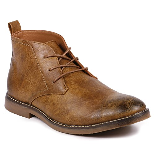 Casual Mens Chukka (Metrocharm MC120 Men's Lace Up Casual Fashion Ankle Chukka Boots (9.5, Tan))