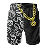Men's Piled Silver Dollar Pattern Comfortable Quick Dry Beach Shorts Swim Trunks
