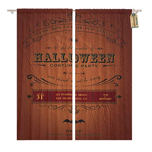 Golee Window Curtain Orange Vintage Halloween Party Label Classic October Announcement Bat Home Decor Rod Pocket Drapes 2 Panels Curtain 104 x 63 inches