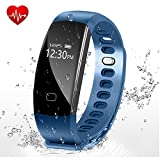 Fitness Tracker - Letufit Heart Rate Activity Tracker Smart Bracelet with Sleep Monitor - Pedometer for iOS & Android (blue)