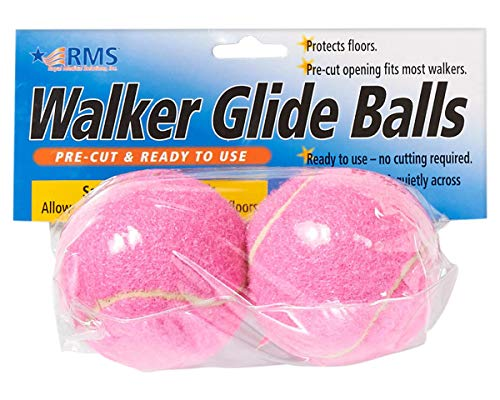 RMS Walker Glide Balls | A Set of 2 Balls | Precut Opening for Easy Installation | Fit Most Walkers (Pink)