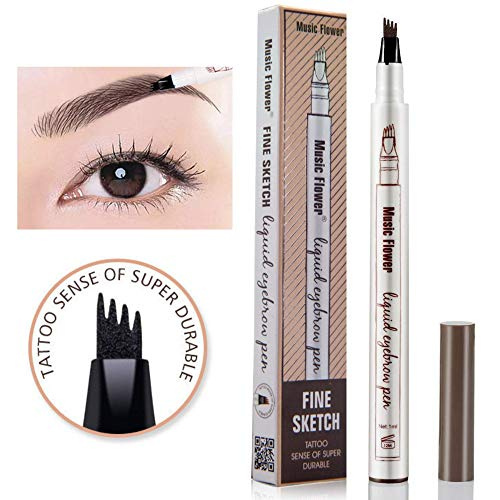 Music Flower liquid eyebrow pencil with four tips brow tattoo pen (Black) ()