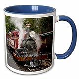 3dRose Danita Delimont - Trains - Australia, Dandenong Ranges. historic steam train. Belgrave Station. - 15oz Two-Tone Blue Mug (mug_226180_11)