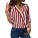 Caopixx Women Blouse Short, Women Summer Appliques Rose Short Sleeves Tops Striped T Shirts (Asia Size S, Red1)