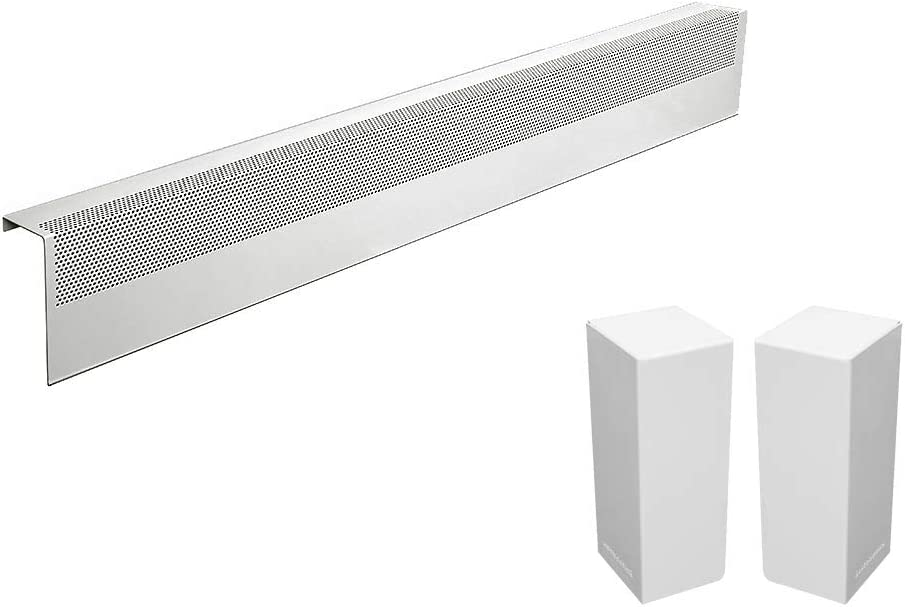 Basic Series Galvanized Steel Easy Slip-On Baseboard Heater Cover in White (4 ft, Cover + L&R End Caps)