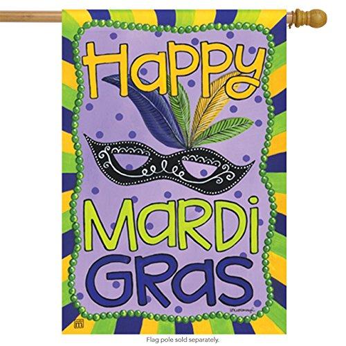 Mardi Gras Mask House Flag Fat Tuesday New